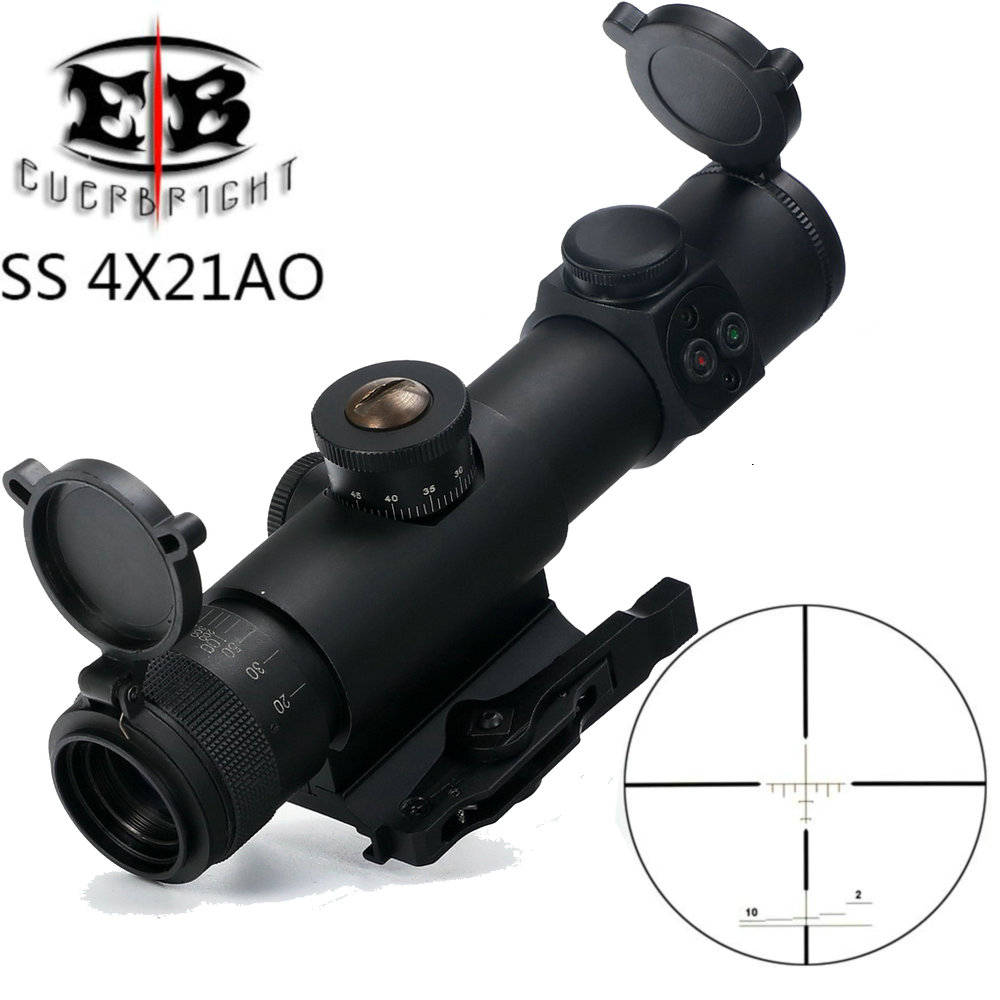 EB SS 4x21 AO Compact Hunting Rifle Scope Tactical Sight Glass Etched Reticle Riflescope With Flip Open Lens Caps And QD Mount