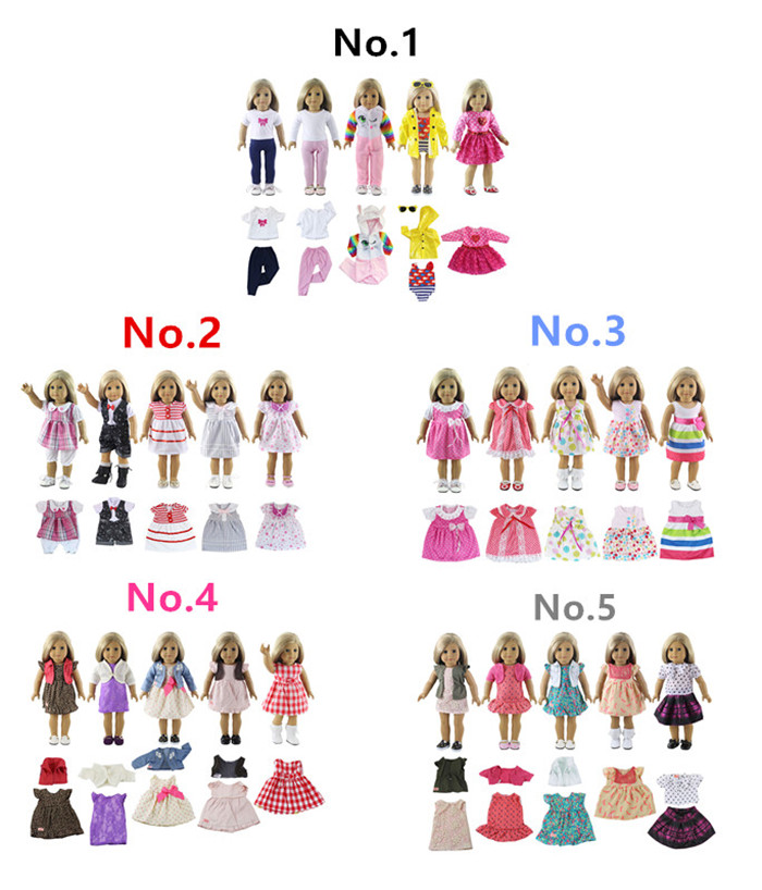 5 Set Doll Clothes For 18 Inch American Doll Doll Handmade Casual Wear