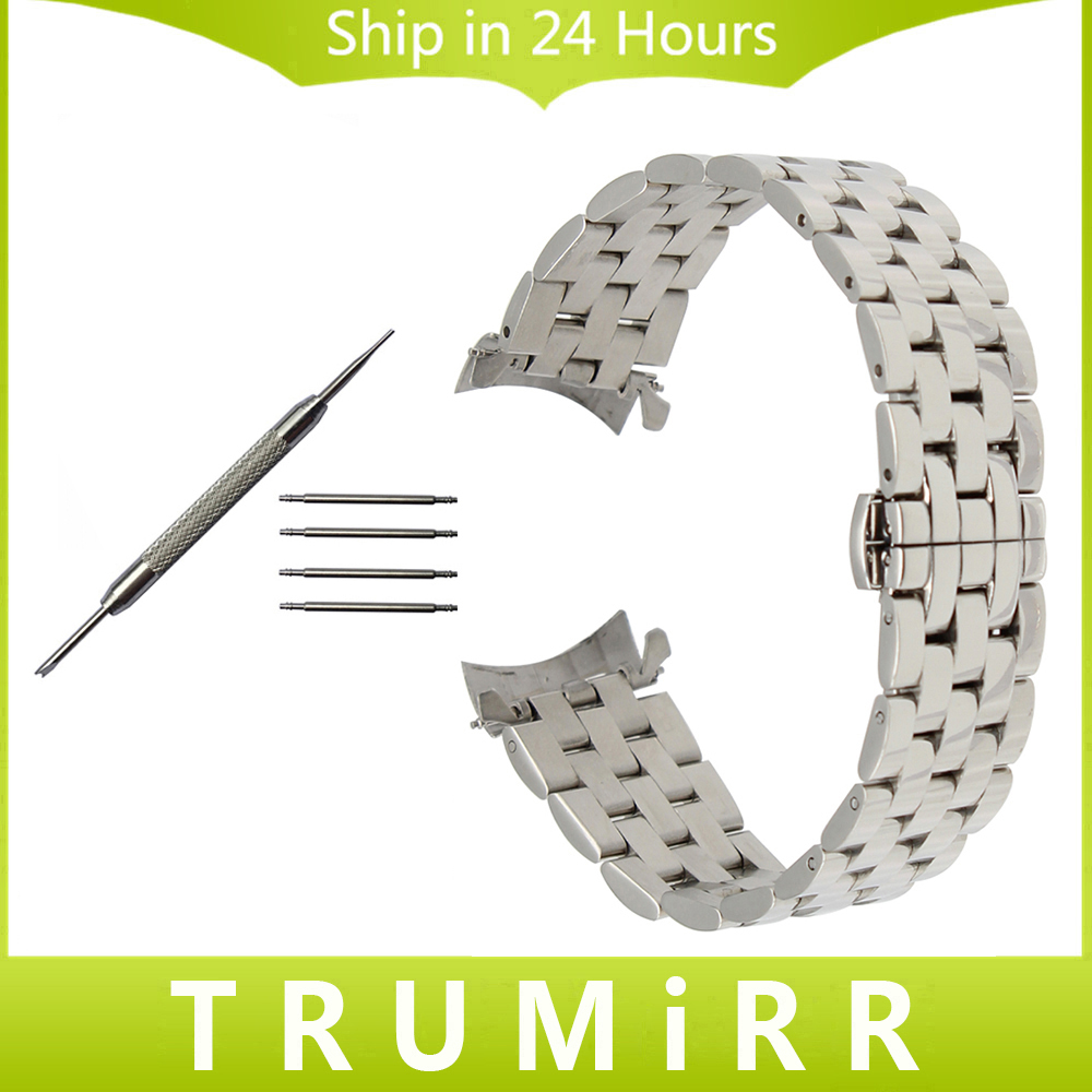 18mm 20mm 22mm Curved End Stainless Steel Watch Band for Longines Master Flagship Conquest Butterfly Buckle Strap Wrist Bracelet stainless steel watch band 18mm 20mm 22mm for rolex curved end strap butterfly buckle belt wrist bracelet black gold silver