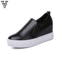 2017 Genuine Leather Women Flats Comfortable Loafers Womens Shoes Wild Breathable Increased Leisure Spring Autumn Shoes