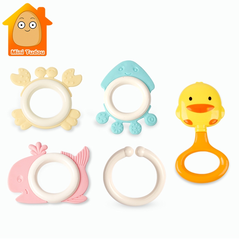 Cute Baby Toys Newborn Teether Hand Bells Baby Toys 0-12 Months Teething Development Infant Early Educational Baby Rattles Toys