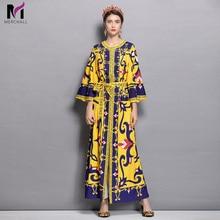 купить Merchall High Quality Fashion Designer Runway Dress Spring Women Flare sleeve Print Lace-up Casual Holiday Vintage Loose Dress по цене 1823.73 рублей