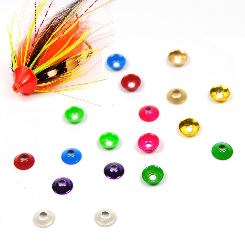 12PCS 10mm Brass Tube Fly Cone Disc Tubefly Head Tying Material Salmon Steelhead Fishing Gold Silver Green