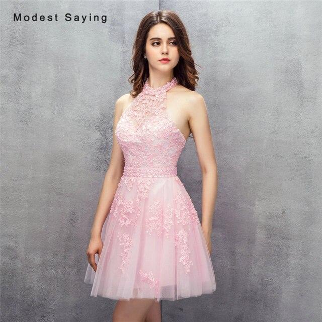 cbcc0d60cf Elegancka Różowa Linia Halter Mini Aplikacja Paciorkami Koronki Cocktail  Suknie 2017 Formalne Dziewczyny Krótki Strona Balu