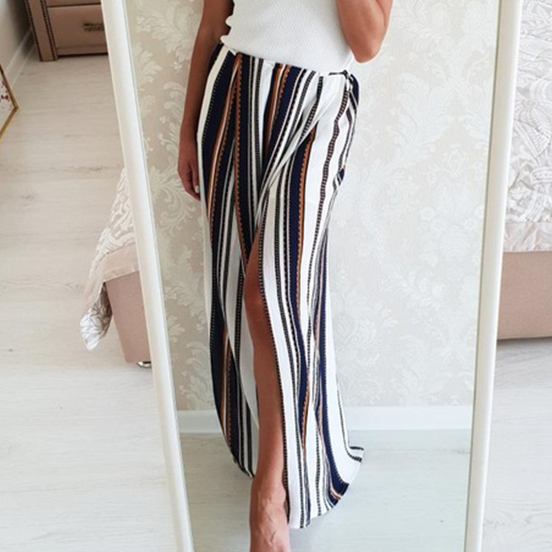 Conmoto High split stripe wide leg   pants   women Summer beach high waist trousers Chic streetwear casual   pants     capris   female