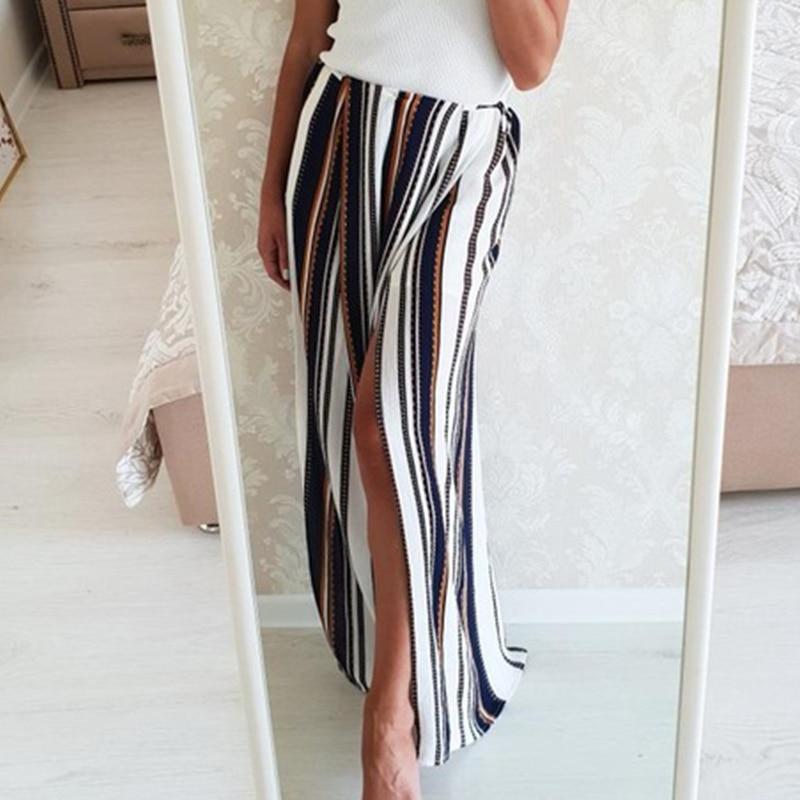 Conmoto High split stripe wide leg pants women Summer beach high waist trousers Chic streetwear casual pants capris female
