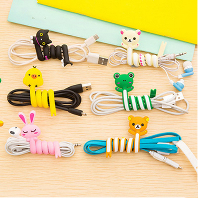 Hottest Portable Cartoon Earphone Cable Wire Winder Cord Organizer Line Holder Winder for Headphone Winding Thread Tools Spot
