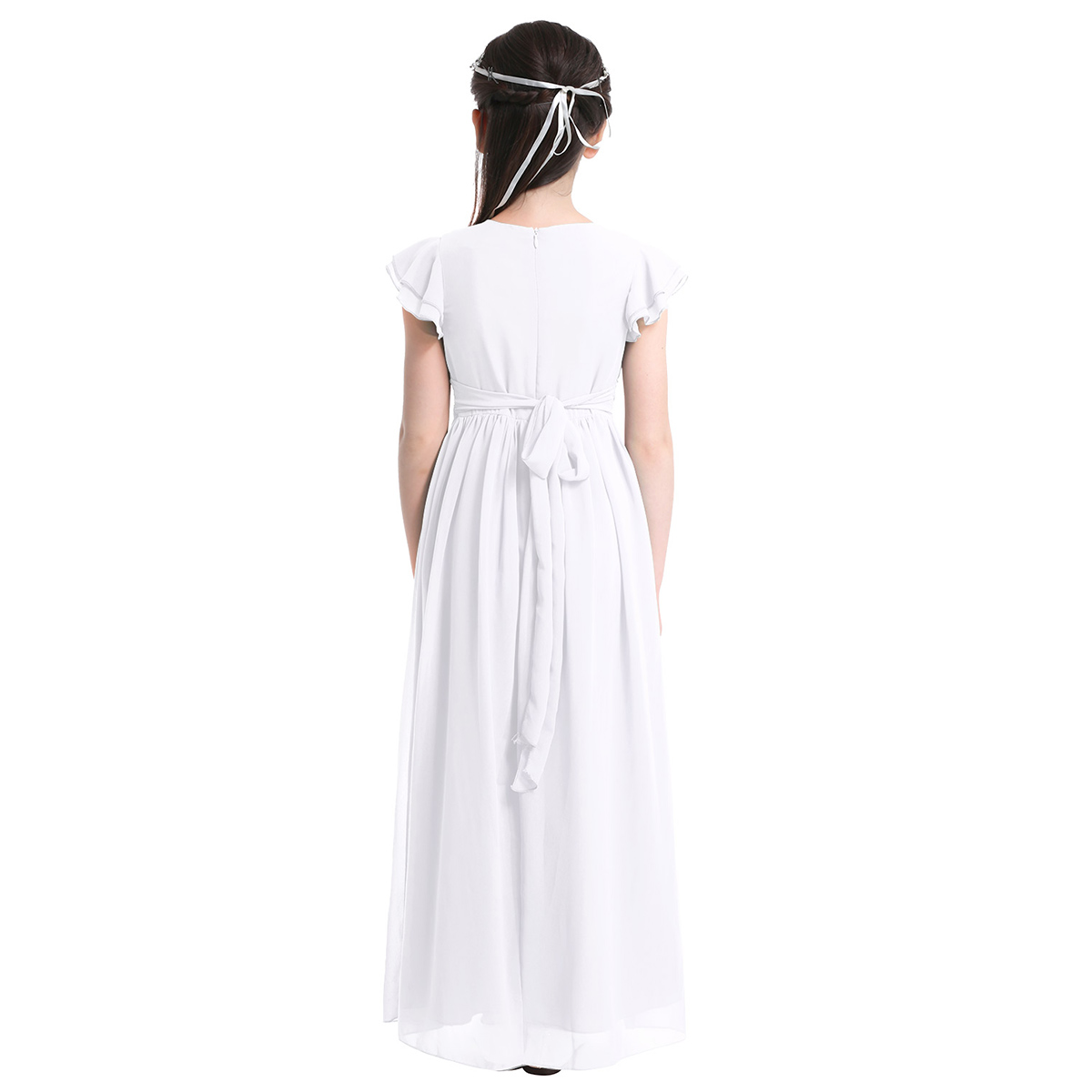 Image 4 - Girls Chiffon Flutter Sleeves Flower Girl Dress Pleated High waisted Princess Pageant Birthday Wedding Party Long Dress SZ 4 14Flower Girl Dresses   -
