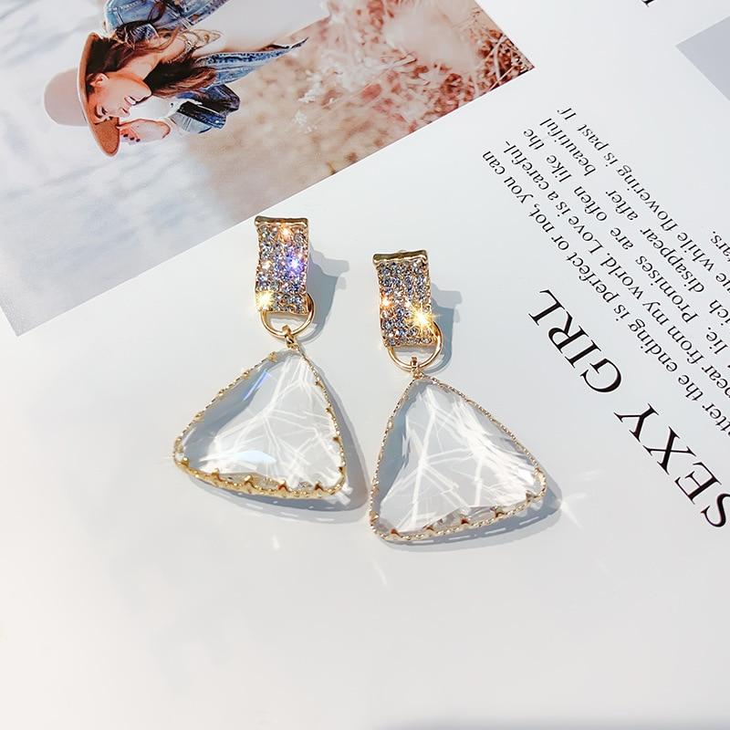 FYUAN Popular Geometric Drop Earrings For Women New Bijoux Triangle Clear Crystal Drop Earring Statement Earring Jewelry Gifts