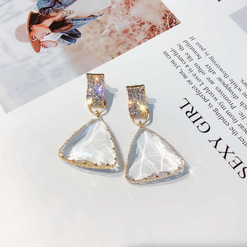 FYUAN Popular Geometric Drop Earrings for Women New Bijoux Triangle Clear Crystal Drop Earring Statement Earring Jewelry Gifts