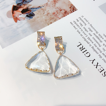 FYUAN Popular Geometric Drop Earrings for Women New Bijoux Triangle Clear Crystal Drop Earring Statement Earring.jpg 350x350 - Geometric Triangle Drop Earrings for Women