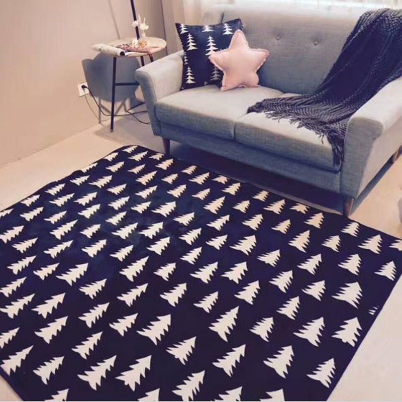 Nordic geometric black and white carpet trees forest - Black and white living room rug ...