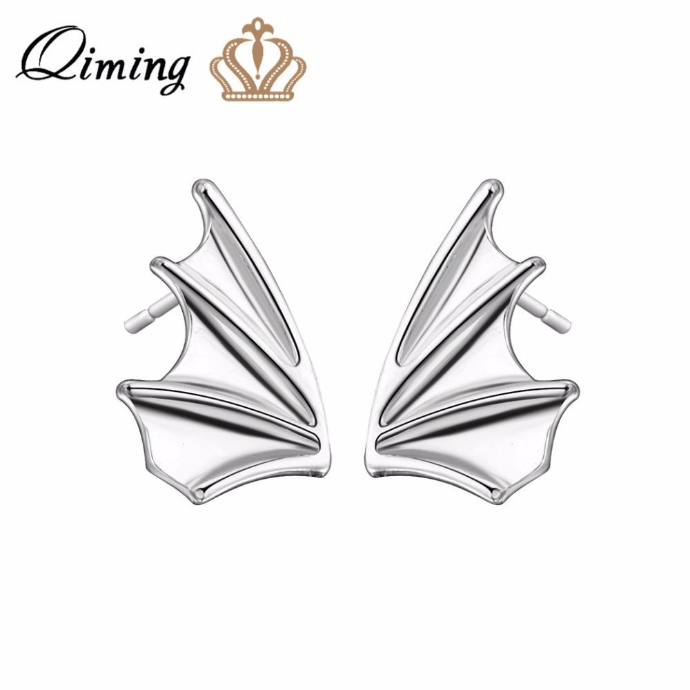 QIMING Detailed Bat Wings Shaped Stud Earrings For Women Vintage Wholesale Jewelry Sailboat Men Earrings Bijoux Femme