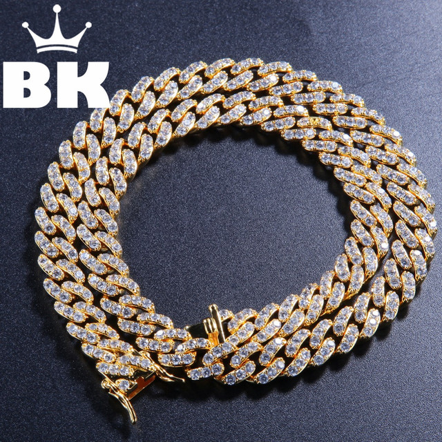 THE BLING KING 9mm Micro Pave Iced CZ Cuban Link Necklaces Chains Gold Color Luxury Bling Bling Jewelry Fashion Hiphop For Men
