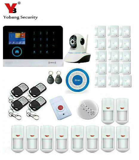 Yobang Security IOS & android APP control LCD touch keyboard wireless wifi GSM alarm system security home kit With indoor camera|io io|kit kits|kit gsm - title=