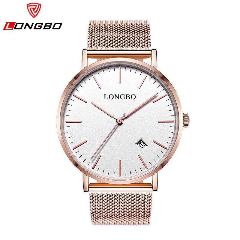 ФОТО LONGBO Luxury Couple Wristwatches Steel Mesh Belt Gold Lovers Watches Fashion Quartz Watch Waterproof Calendar Relogio Feminino