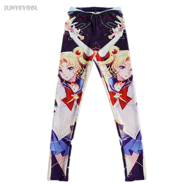 Womens Workout Leggings Sexy 3D Sailor Moon Comic Printed Pants Punk Comfortable Galaxie Funky Skinny Seamless Anime Legging New