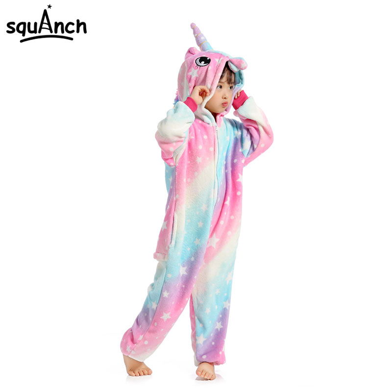 Unicorn Kigurumis Onesies Kid Pajama Animal Cartoon Rainbow Star Dreamin Unicornio Sleepwear Child Girl Cute Kawaii Party Suit