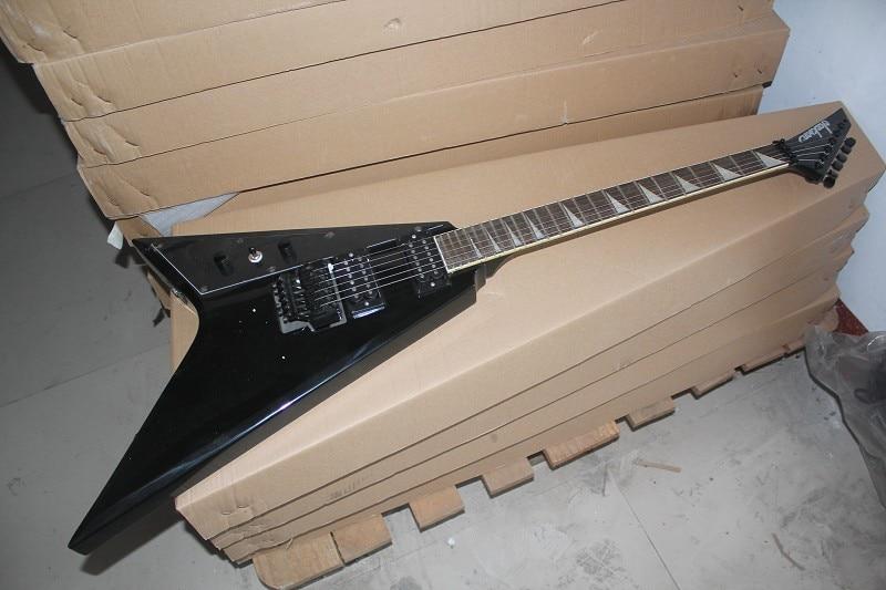 Usine en gros volant-V style main gauche Jackson couleur noire guitare Jackson boutique personnalisée 14-5-10