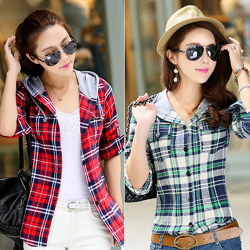 Women s Fashion Cotton Hooded Shirt Casual Plaid Long sleeved Sweatshirt Top New Arrival