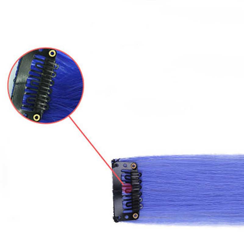 Длинные прямые Омбре 24 цвета одиночные заколки для волос для наращивания женщин накладные волосы девушки термостойкие синтетические поддельные волосы