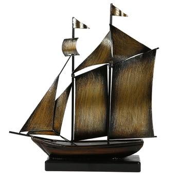 Creative Vintage Iron Sailboat Model Decor Home Craftsmanship Smooth Sailing Boat Figurines American Retro Simple Metal Crafts