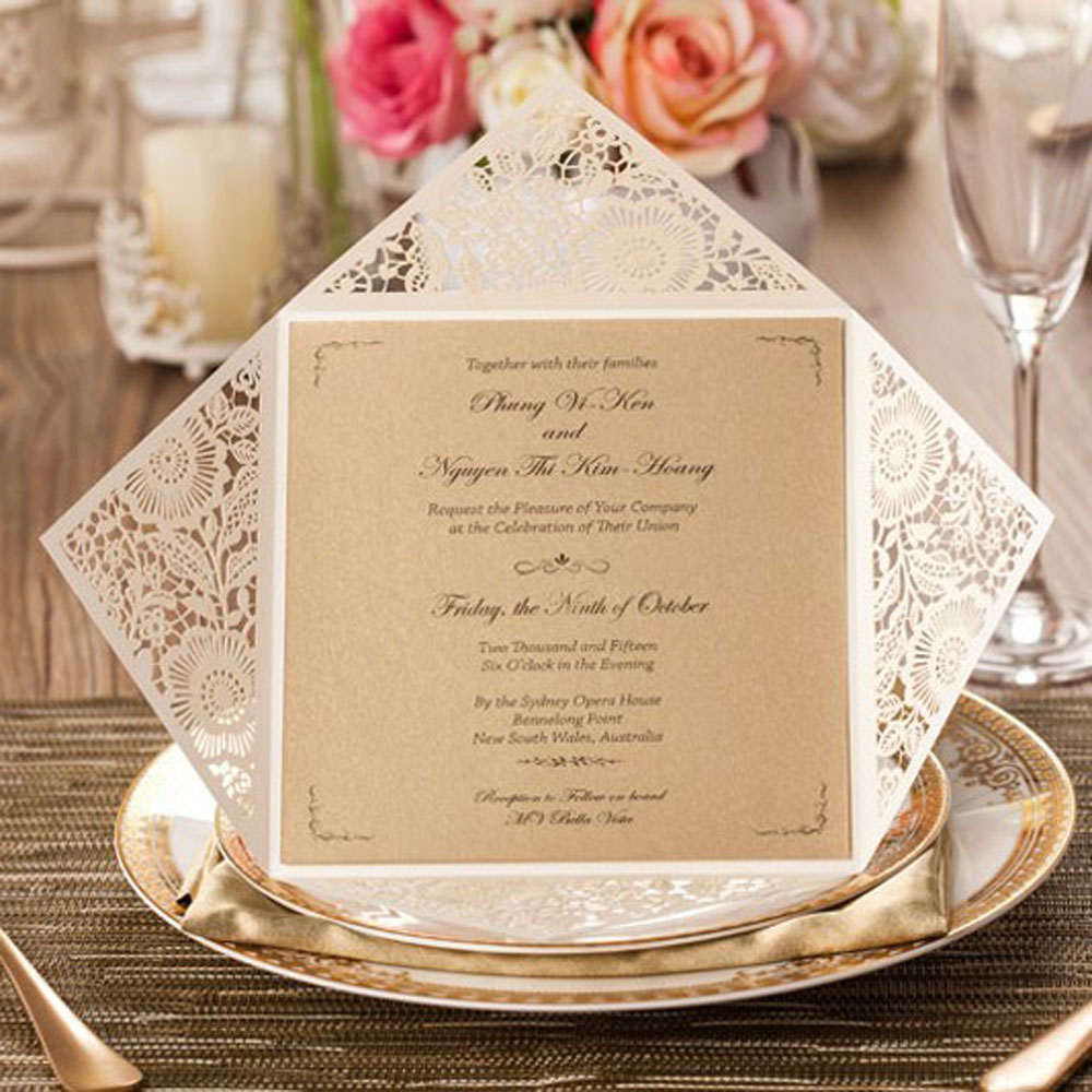 1pcs Sample Laser Cut Wedding Invitation Cards With Insert Paper ...