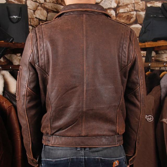 afd1f1b5034 HARLEY DAMSON Vintage Brown Men Pilot Leather Jacket Wool Collar Plus Size  3XL Genuine Cowhide Russian Flight Leather Coat