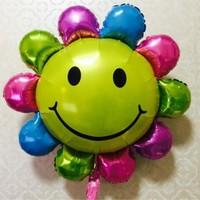 New Sun Flower Smiling Face Aluminum Foil Balloon 2 Pack Helium Balloon Children S Toy Ball