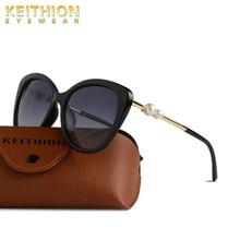 KEITHION Women Polarized Sunglasses Brand Designer Cat Eye Sun Glasses Mirrored Fashion Vintage Retro Eyewear
