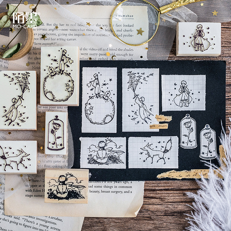 1pc-little-prince-stamps-wood-clear-stamps-diy-scrapbooking-decoration-clear-stamps-rose-fox-creative-seal-kawaii