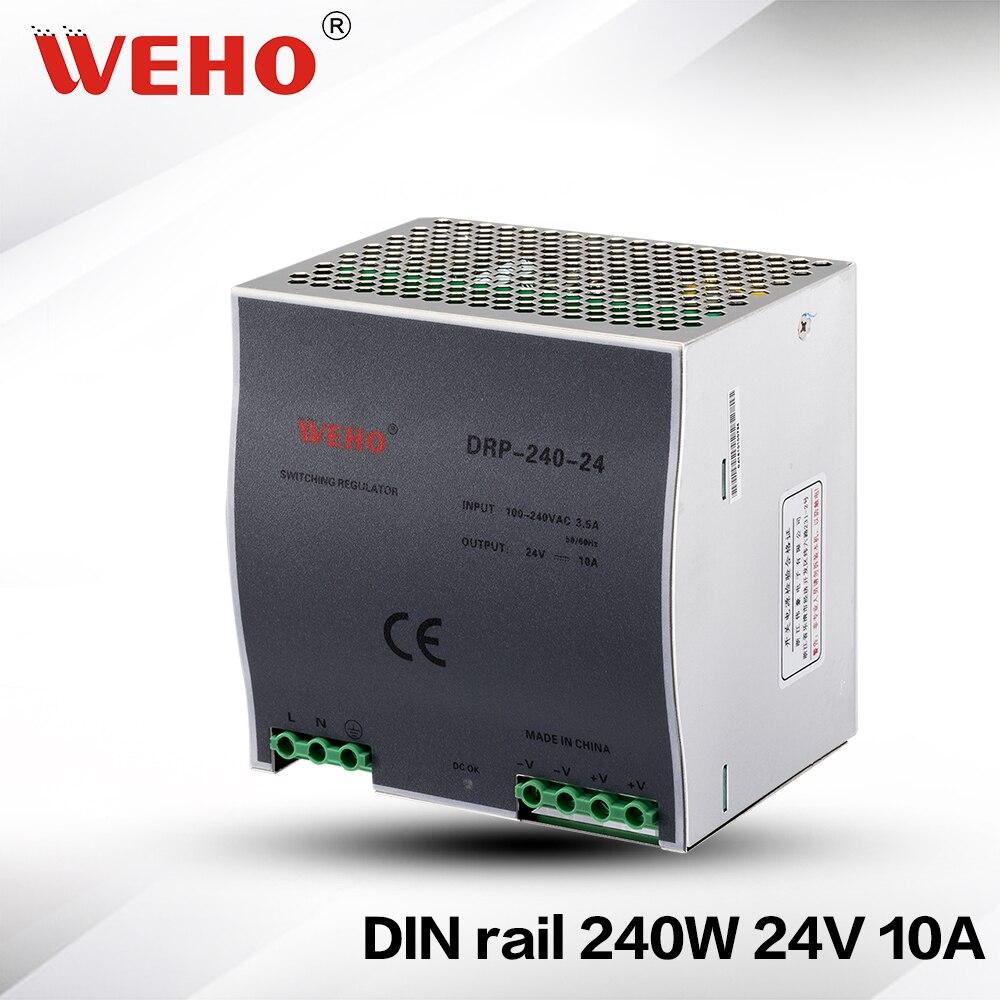 (DR-240-24) refroidissement aluminium shell 240 W 10A 24 V alimentation à découpage 240 w 24 v dc din rail alimentations