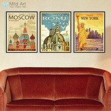 Vintage Retro tríptico Nueva York Roma ciudad de Moscú lienzo A4 grande Póster Artístico impreso cuadros de pared decoración del hogar pintura sin marco