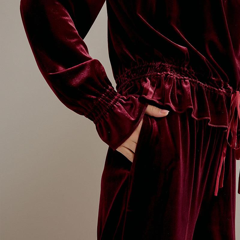 Corea De Cintura Pierna Color Sólido Llegada Ancha Primavera Wine Nueva Mujeres Casuales Dll2987 Pantalones 2019 Red Elástica Verano Moda xitao Mujer 04qBzW