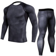 Dropshipping Fitness Quick-drying Suit Tights Men Autumn and Winter Running Gym Compression Long-sleeved Clothes