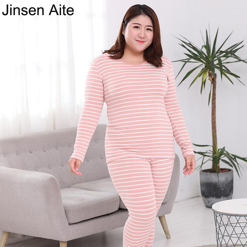 Jinsen Aite Winter Cotton Women Long Johns 2 Pieces Striped Autumn Large Size Soft Thermal Underwear Sets Plus Size 6XL JS690