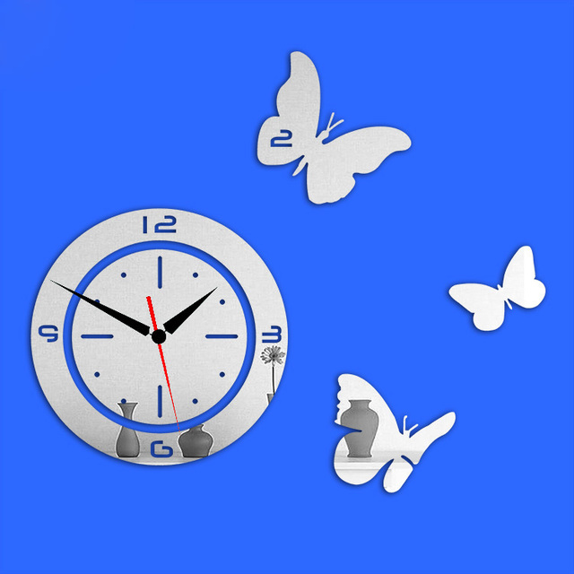 Digital 3D Wall Clock Home Decoration Butterfly Wall Decal Wall Stickers  Living Room Bedroom Vinyl Decal