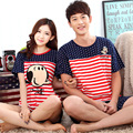 Free shipping Sweet Pajamas Sets Fashionable striped  Cotton couple pajamas Summer lovers pajamas Cartoon lovers pajamas