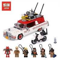 LEPIN 16032 Ecto 1 & 2 Ghostbuster fighter Ghost car Model set Model Building Blcoks Bricks LegoINGlys 75828 Gifts toys for boys