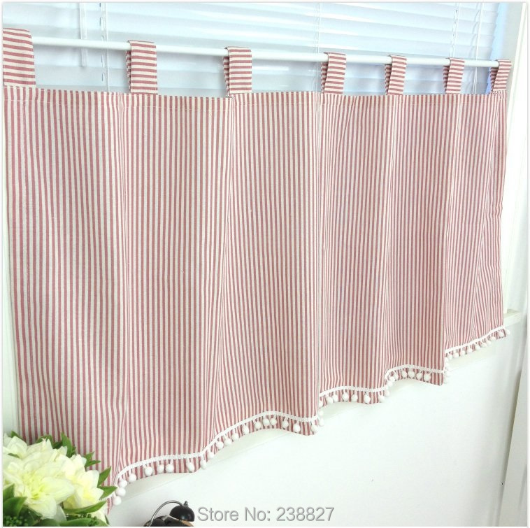 3 Piece Faux Cotton Espresso Brown Kitchen Window Curtain: Short Curtain Panel Window Curtains Stripe Door Kitchen