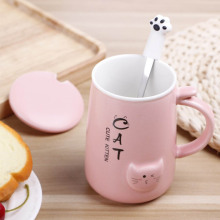 Cute Cat 400Ml Cafe Coffee Mug Ceramic Drinking Cups Large Capacity with Spoon Set