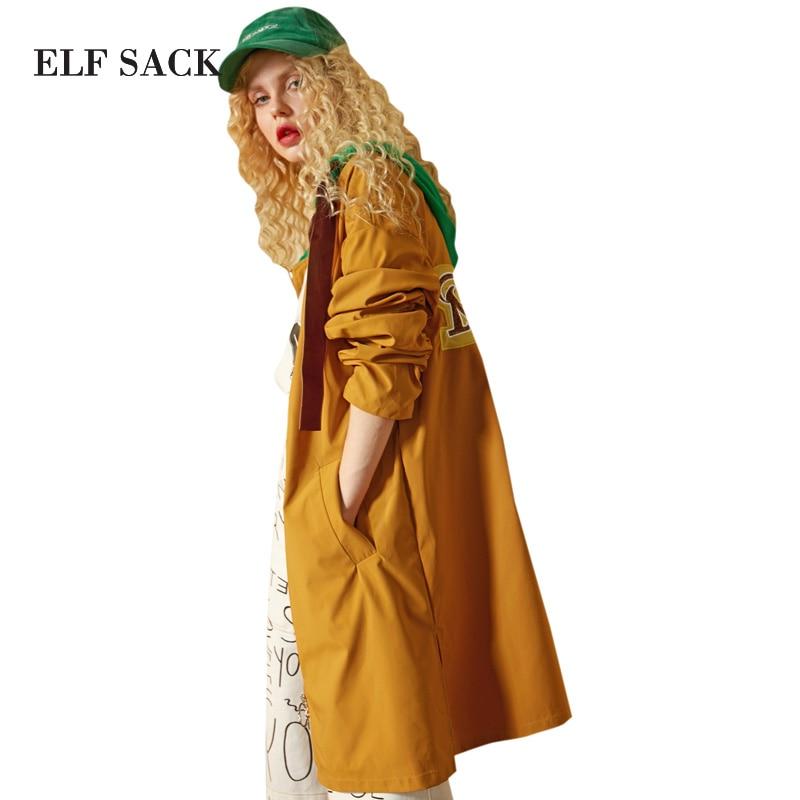 Sac À Couleur Femmes Trenckcoats Longue Blocage coats brown Trench Bright Green Longs Manteaux Lettre Broderie Lâche Capuchon Elf Décontracté CpxndwFx