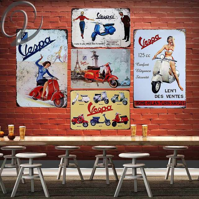 Vespa Scooter Route 66 Motorcycle Garage Wall Decor Man Cave Crafts Art Metal