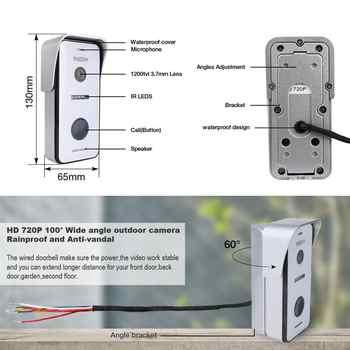 TMEZON Wired Wifi Video Door Phone Intercom 720p Outdoor Camera Waterproof Wide View Doorbell