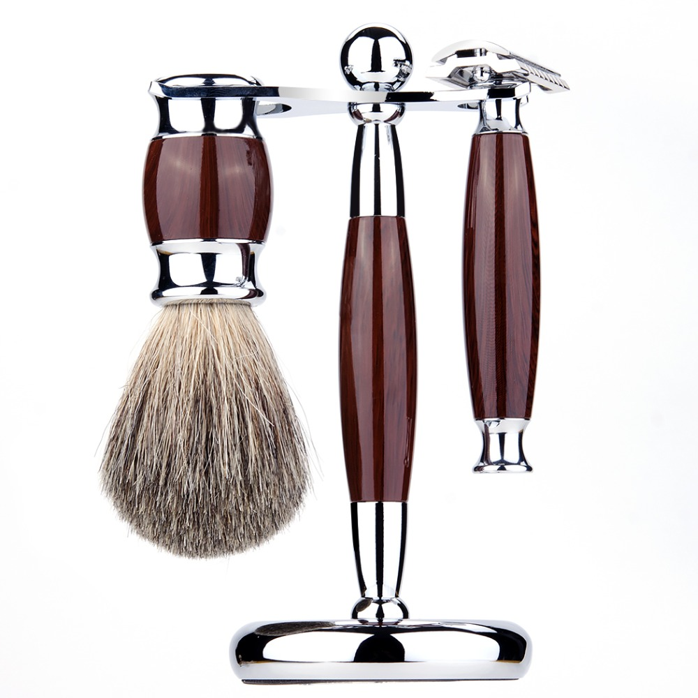 ZY Men Shaving Set Adjustable Double Edge Blade Razor Pure Badger Beard Brush Stand Holder Safety Razor Shave Kit Free 10 Blades kola huawei nova2 закаленная пленка полноэкранная защитная пленка для мобильного телефона для huawei nova2 black