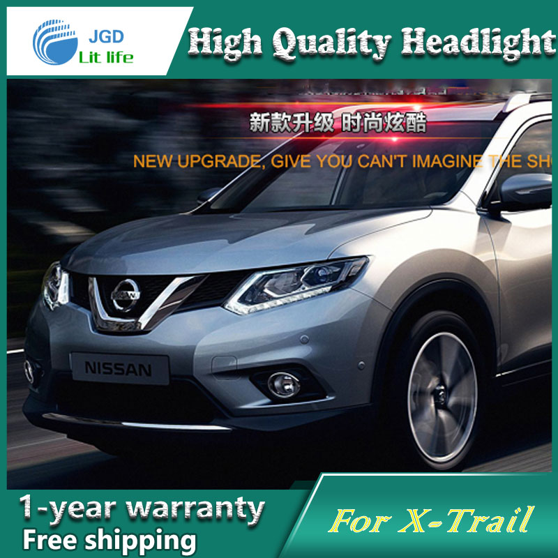 high quality Car styling case for Nissan X-Trail Headlights 2014-2016 X-Trail LED Headlight DRL Lens Double Beam HID Xenon hireno headlamp for hodna fit jazz 2014 2015 2016 headlight headlight assembly led drl angel lens double beam hid xenon 2pcs