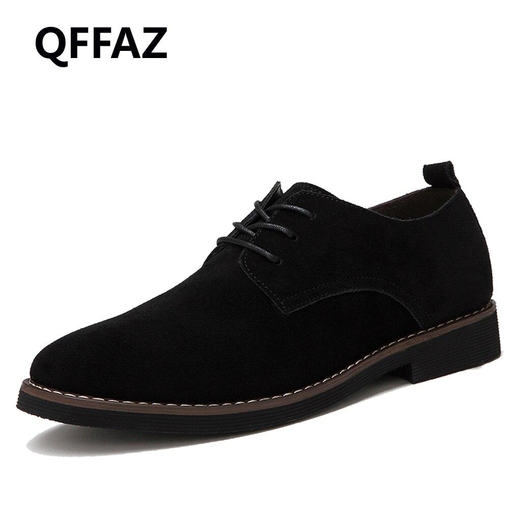 QFFAZ fashion men casual shoes new spring men flats lace up male suede oxford men leather shoes zapatillas hombre big size 38-48
