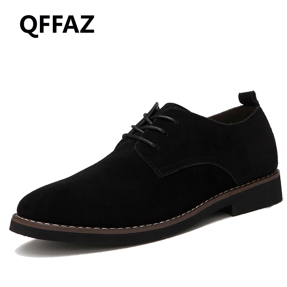 QFFAZ fashion men casual shoes new spring men flats lace up male suede oxford men leather shoes zapatillas hombre big size 38-48