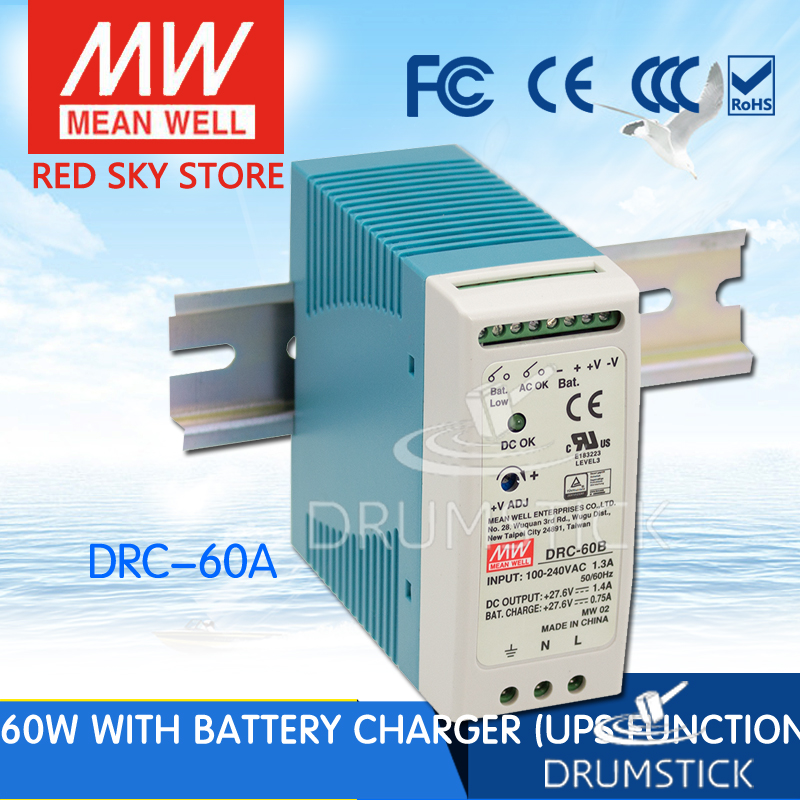 Selling Hot MEAN WELL original DRC-60A 13.8V DRC-60 59.34W Single Output with Battery Charger (UPS Function)