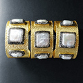 WT-B255 Charm Triple Mother of Pearl Bracelet Bangel Natural Pearl Rectangle in Matte Gold Plate Pearl Bangle Wholesale 5pcs
